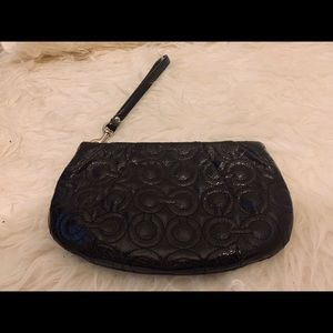 COACH Wristlet / Clutch Med Black Patent Leather